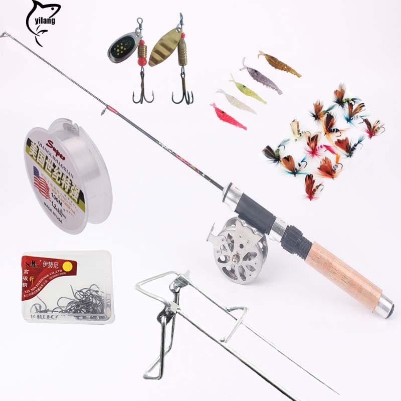 Portable Mini Pocket Ice Fishing Rod Kit Fishing Rod With Reel Set Present Lures Tackles(China (Mainland))