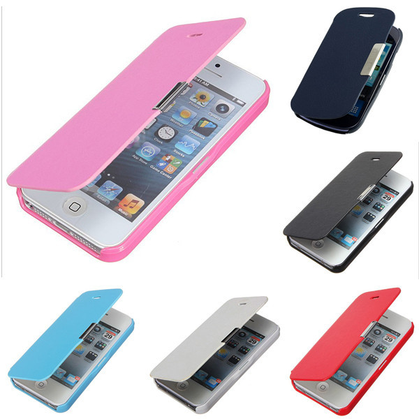 High Quality Magnetic PU Genuine Leather PU Flip Pouch Hard Full For iPhone 4 4S Case Cover Wallet Pouch For Apple(China (Mainland))