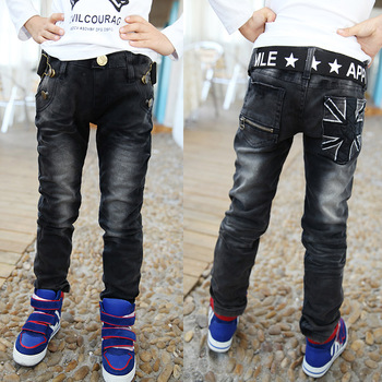 2016 new spring and autumn boy pants children fashion casual straight jeans trousers boys Korean baby black jeans