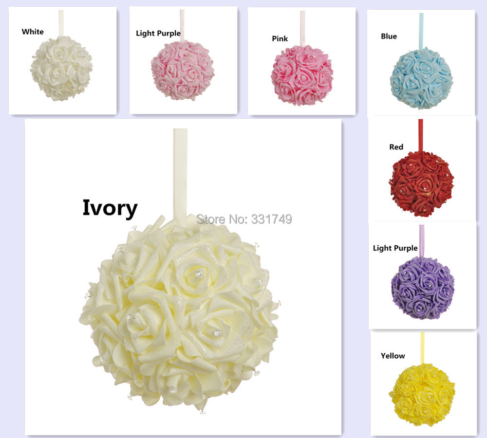 "8""(20cm) Wedding Foam Rose Shiny Gold Glitter Kissing Ball Flower Pomander Bouquet Ball + Crystal Pin(China (Mainland))"