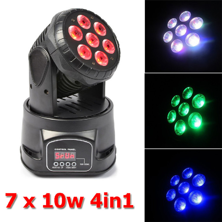 Eyourlife New Coming 7X10W RGBW 4in1 LED Mini Moving Head Lighr Club DJ Stage Lighting by DMX-512 controller<br><br>Aliexpress