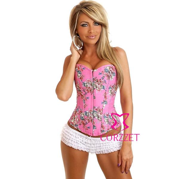 Розовый без бретелек костей босоножки назад джинсовые цветочные верхней бюстье белье ...