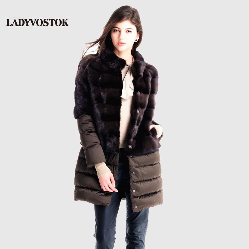 LADYVOSTOK Splice Removable Collar Long Coat Warm Winter Mink Fur Coat Real Fur Vest Genuine Fur Down Jackets Plus Size E1605(China (Mainland))