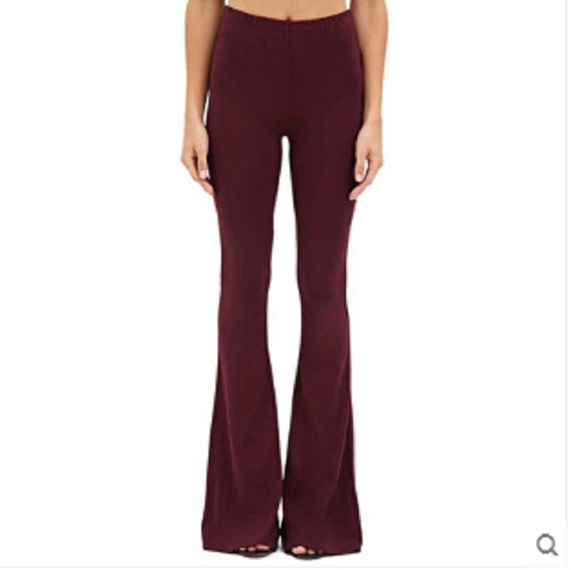 Women Flare Pants Full Length Slim Pants Ol Wide Leg ...