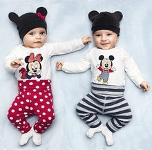 2015 New cotton children cartoon baby boys girls sets clothes 3pcs Long sleeved Romper hat pants