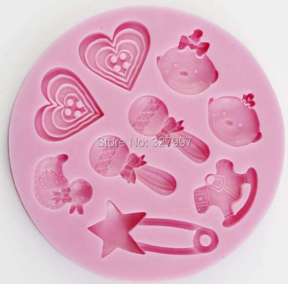 baby shower party molds silicone chocolate lollipop kawaii cake mold