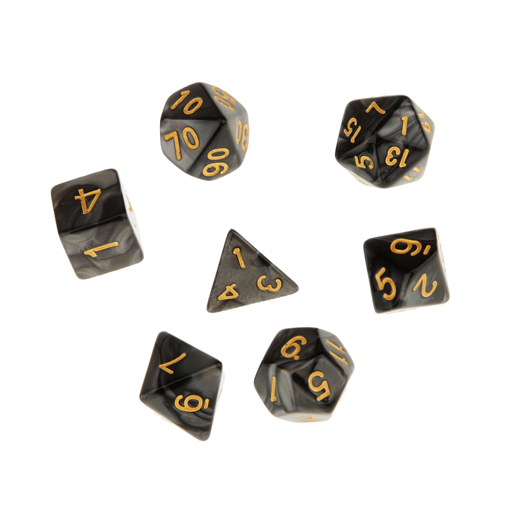 Perfeclan 7 Set Polyhedral Dice for Dungeons and Dragons DND RPG MTG+ Dice Cup Black Polyhedral Dice Table Games
