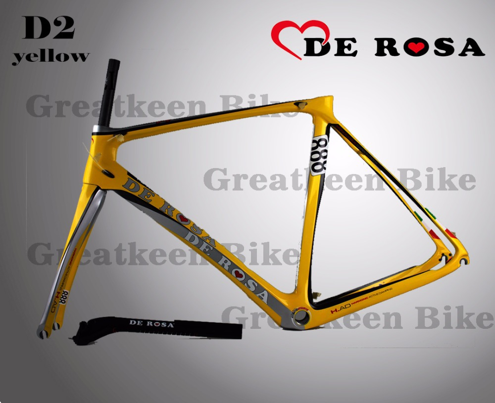 DE ROSA KING 888 D2 yellow carbon bicycle frame road frames t800 sale headset carbon bike frame(China (Mainland))