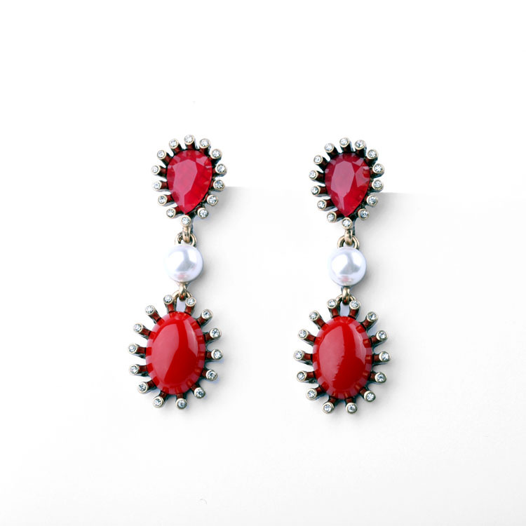 Online Top Selling Jewelry Alloy Water Drop Rhinestone Women Resin Red Drop Earring Statement 2015(China (Mainland))