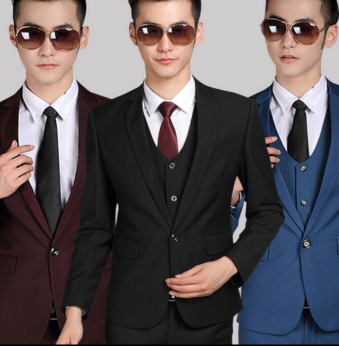 2015 new mens suits Korean Slim suits champagne tuxedo chinese male clothing mens costumes (Jacket + pants + tie)Одежда и ак�е��уары<br><br><br>Aliexpress