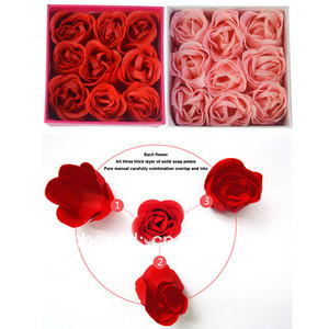 9x Rose Flower Petal Soap Wedding Party Brithday decor Favors With Gift Box 6676 HmsqE(China (Mainland))