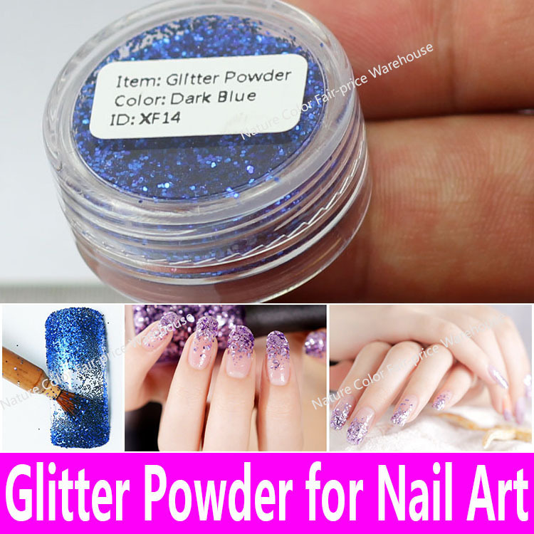 1 piece Nail Art Glitter Powder 0.6mm PET Shimmer Decoration Fine Dust UV Gel Shining Crafts in 18 Colors with Pots Tiny Bottles(China (Mainland))
