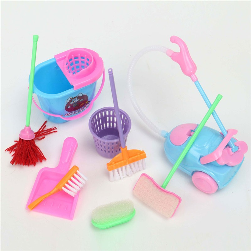 9Pcs/set Girl House Dolls Furniture Cleaning Kit Set Home Furnishing Funny Vacuum Cleaner Mop Broom Tools Pretend Play Toys(China (Mainland))