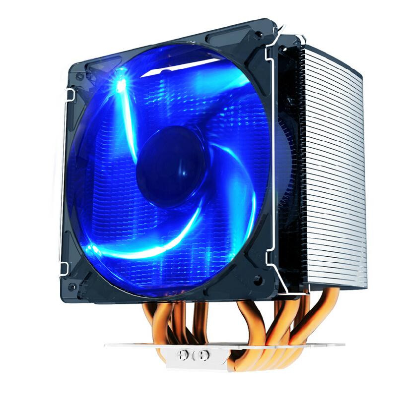 PC Cooler S126 Computer CPU Cooler 120mm Blue LED Cooling Fan Heatpipe Heatsink For Socket AM2/AM2+/AM3 FM1/FM2/LGA1155/1156/775(China (Mainland))
