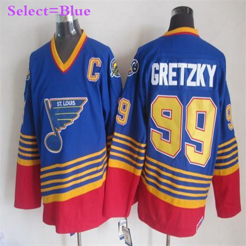 Mens #99 Wayne Gretzky Blue Throwback Stitched Jerseys White Top Quality(China (Mainland))