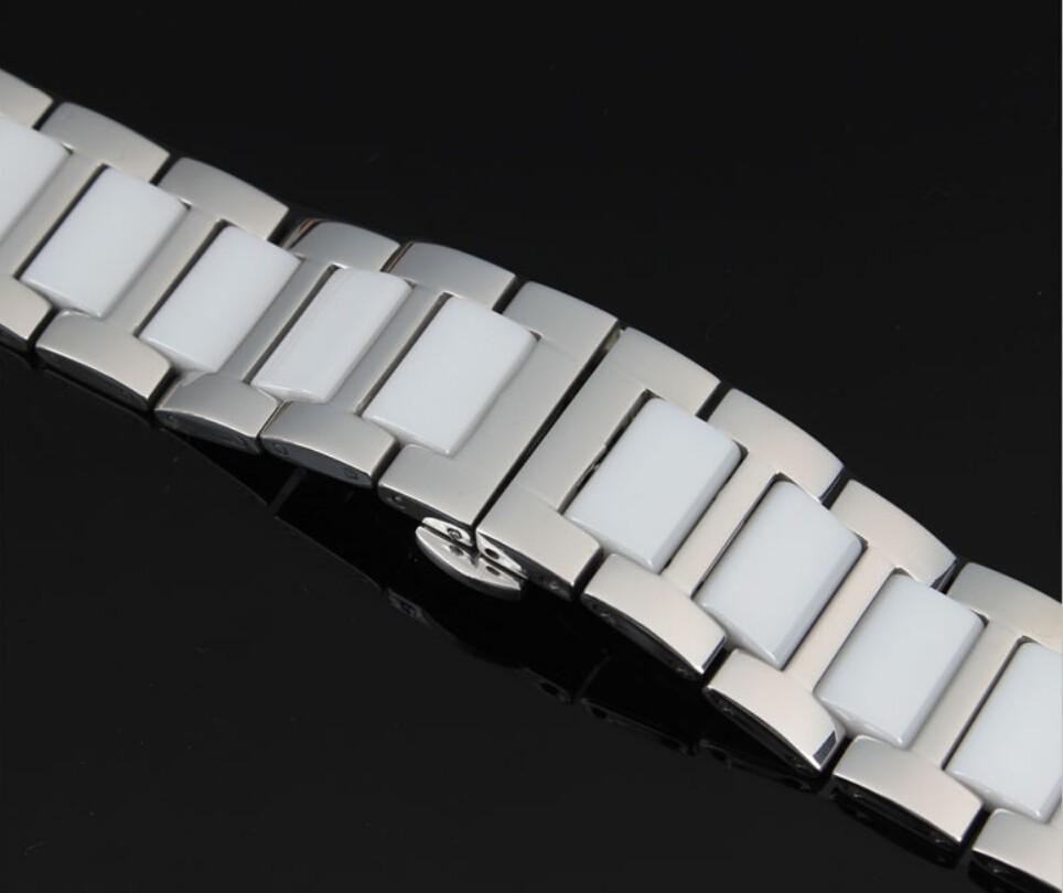 16 мм 18 мм 20 мм серебро из нержавеющей стали с черной керамики ремешки браслет двойной нажмите часы пряжка бесплатная доставка