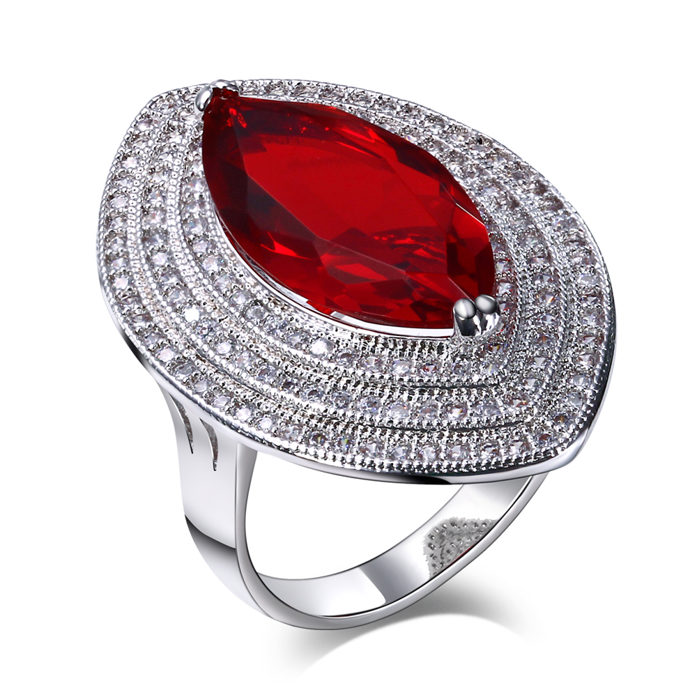 Sales Promotion New Fashion jewellery Womens Banquet Party Wedding jewelry Red Cubic Zirconia Platinum Plated rings()