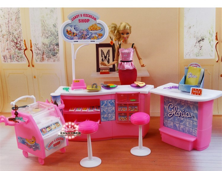 Plastic Play Set Sweet and ice cream store Present Set doll equipment doll furnishings for barbie doll New massive type Lady present