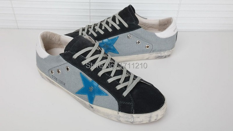 GGDB Flat Shoes grey blue Golden Goose Superstar Women Men Sneakers Genuine Leather Fashion 2015 Brand New Low Cut Breathe(China (Mainland))