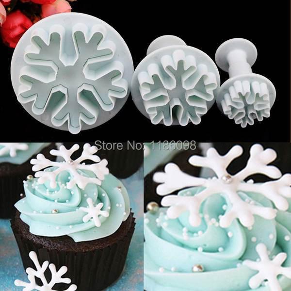1Set/3PCS Snowflake Fondant Cake Decorating Sugarcraft Cutter Plunger Mold Mould NX3w(China (Mainland))