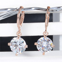 New Arrival 1Pair Colorful Round Style 18k Rose Gold Filled CZ Enchanting Zircon 9 Colors Dangle Earrings For Women Wholesale(China (Mainland))
