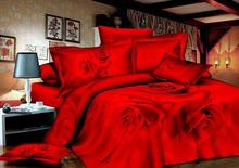 3D Red rose wedding comforter bedding set queen comforters sets duvet cover quilt bed linen sheets bedspread bed in a bag cotton(China (Mainland))
