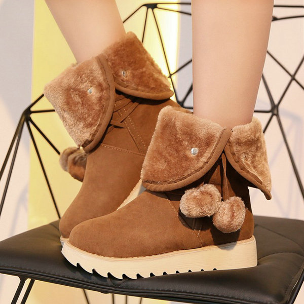Big Size 34-43 Snow Boots Warm Fur Winter Shoes Brand Design Flats Heel Round Toe Platform Ankle Boots for Women<br><br>Aliexpress