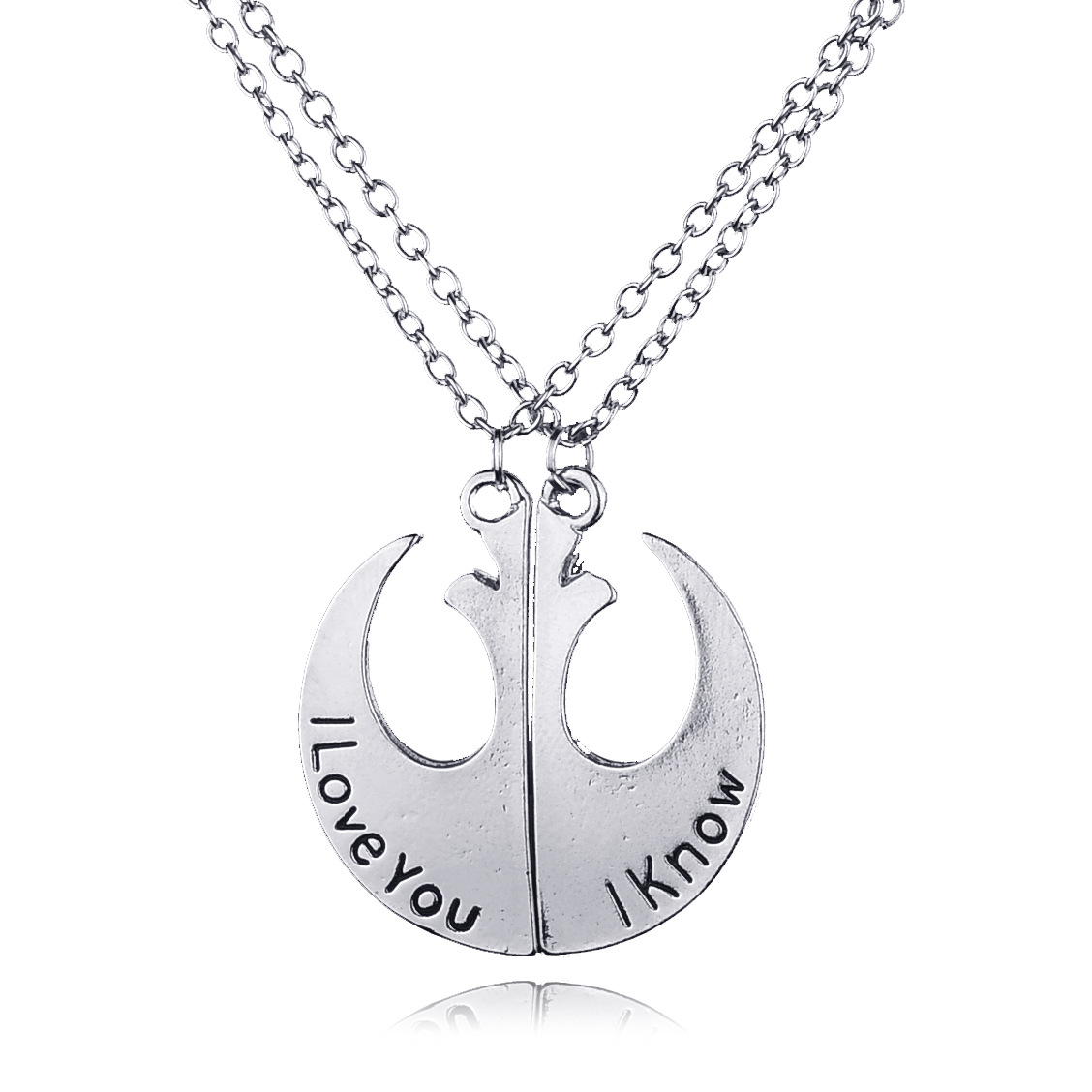 Star Wars Rebel Alliance Lapel Pin Rebel Badge Emblem Pendant I Love You I Know Lover's Couple Necklace Movie Jewelry(China (Mainland))