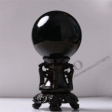 50 mm feng shui products Asian Rare Natural Black Obsidian Sphere Large Crystal Ball Stone HITM Quartz Balls ball stone - ZMO Daily Necessities Co., Ltd. store