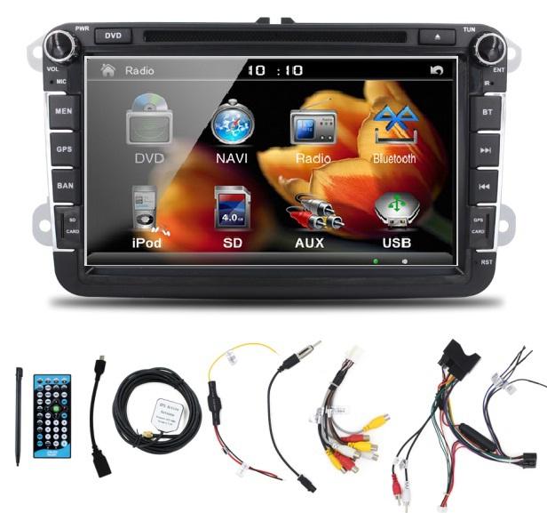 Two Din 8 Inch Car DVD Player Radio GPS Navigation audio camera Bluetooth for VW GOLF 6 polo New Bora JETTA B6 PASSAT SKODA Map(China (Mainland))