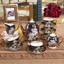 15 pieces  restoring ancient ways style coffee sets royal bone china tea cup set ceramic teapot set coffee cup and saucer