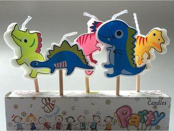 Маленький динозавр свечи экспорт новые свечи комплект детский день рождения ну вечеринку мультфильм свеча ни дыма 5 шт. бесплатная доставка