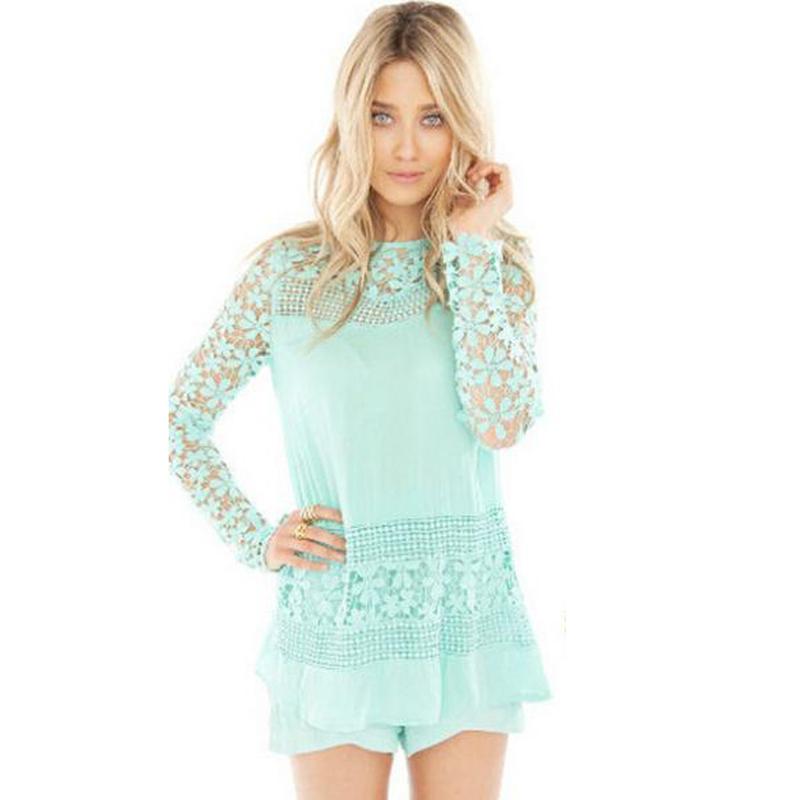 lace top hollow out blouses crochet lace vintage blusas ladies full