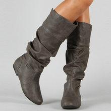 Wetkiss Plus Size 34-48 Giữa Bắp Chân Giày Lắp Gót Nữ Xếp Ly Giày Nữ Mũi Tròn Giày Phẳng giày Thu Đông 2020(China)