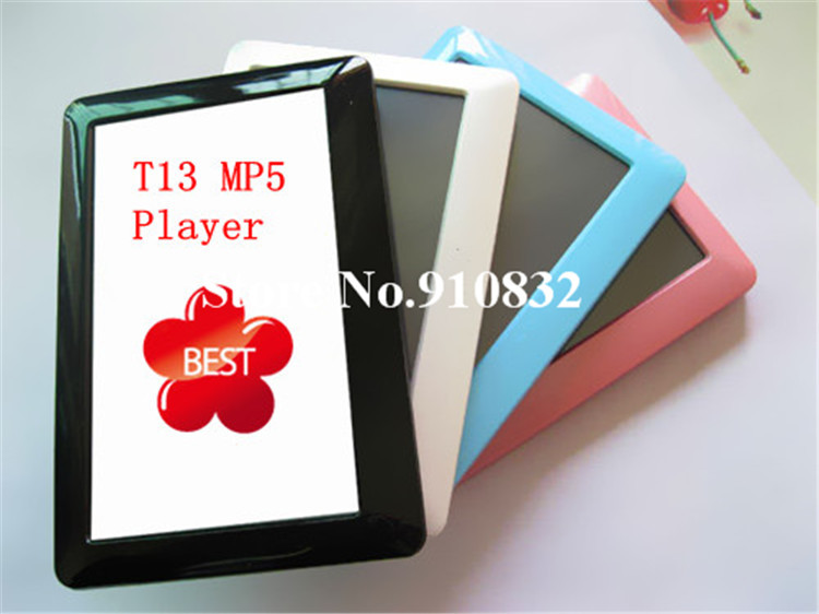 Real 8GB T13 4.3 inch Touch Screen Mp4 Mp5 player+TV out+Video+FM radio with games E-book with Retail package, 30pcs Free ship(China (Mainland))