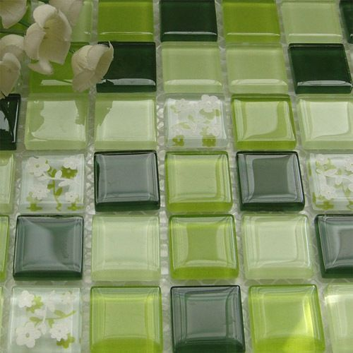 Green flower crystal glass mosaic Mediterranean for swimming pool bathroom shower tiles wall mosaic kitchen backsplash(China (Mainland))