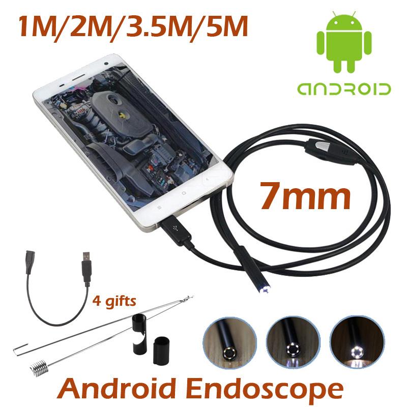 7mm Mini USB Android Phone Endoscope Camera 1M 2M 3.5M 5M Waterproof inspection Snake Tube MicroUSB OTG Borescope HD720P Camera(China (Mainland))