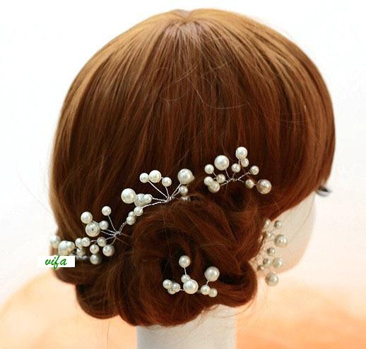 !Handmade white Romantic Bridal hair accessories/bridal pearl/ wedding Hair ornament,QXL039 - Vifa (mamufacturer store baby&bride headwear Center)