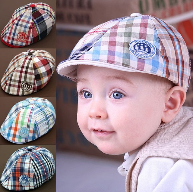 Free shipping Princess cap child hat baby hat baseball cap male plaid beret