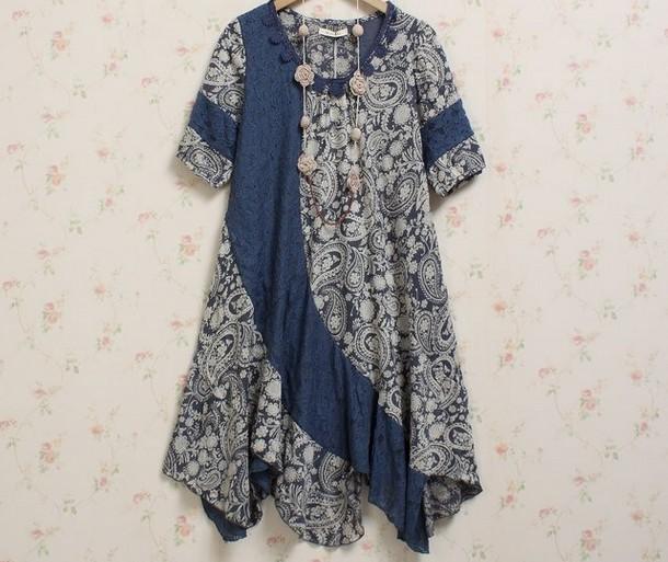 Japan Mori Girl Irregular Dress Sweet Korean Short Sleeve Loose Plus Size Lace Cotton Women Casual Novelty Vestido - Say-Buy Discount Store store