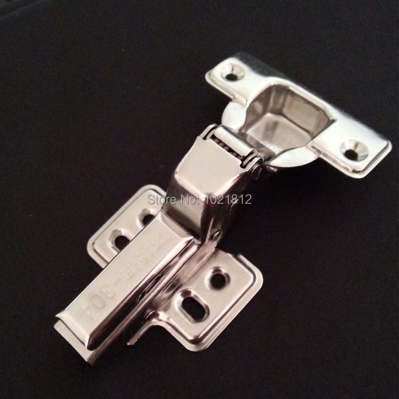 1 Pair Inset Hydraulic Cabinet Hinge 304 Stainless Steel Hinge Soft Close Brass Buffering Fixed Base(China (Mainland))