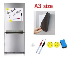 A3 Size Magnetic Whiteboard Fridge 2 Pens 2 Magnets Eraser 297x420mm Home Kitchen Message Boards Writing Pad Dry Eraser Sticker(China (Mainland))