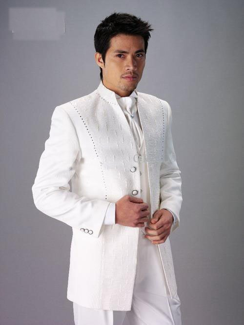 New mens white complete embroidery designer suit/Bridegroom suit( Clothes+ Pants+GHYUYU)-009