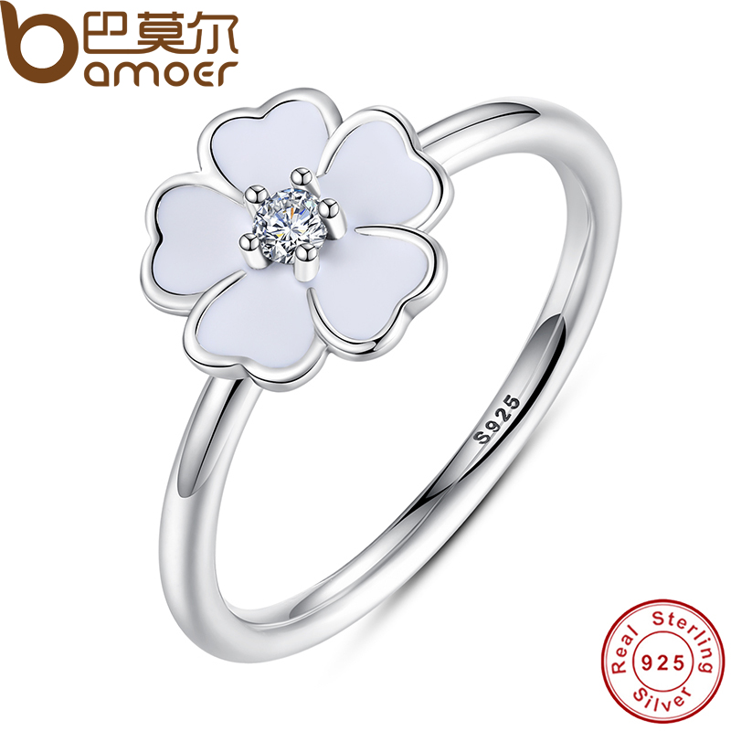 BAMOER 2016 Spring Collection 100% 925 Sterling Silver Primrose Stackable Ring White Enamel Ring Feminine Jewelry PA7136(China (Mainland))
