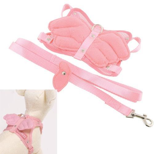 Cute pink angel pet harness belt adjustable shoulder straps pet traction nylon easy dog biting(China (Mainland))