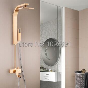 Free shipping High grade Environmental Aluminum colorful bath Shower Panel Powerful top spray head Rain Style Massage System(China (Mainland))