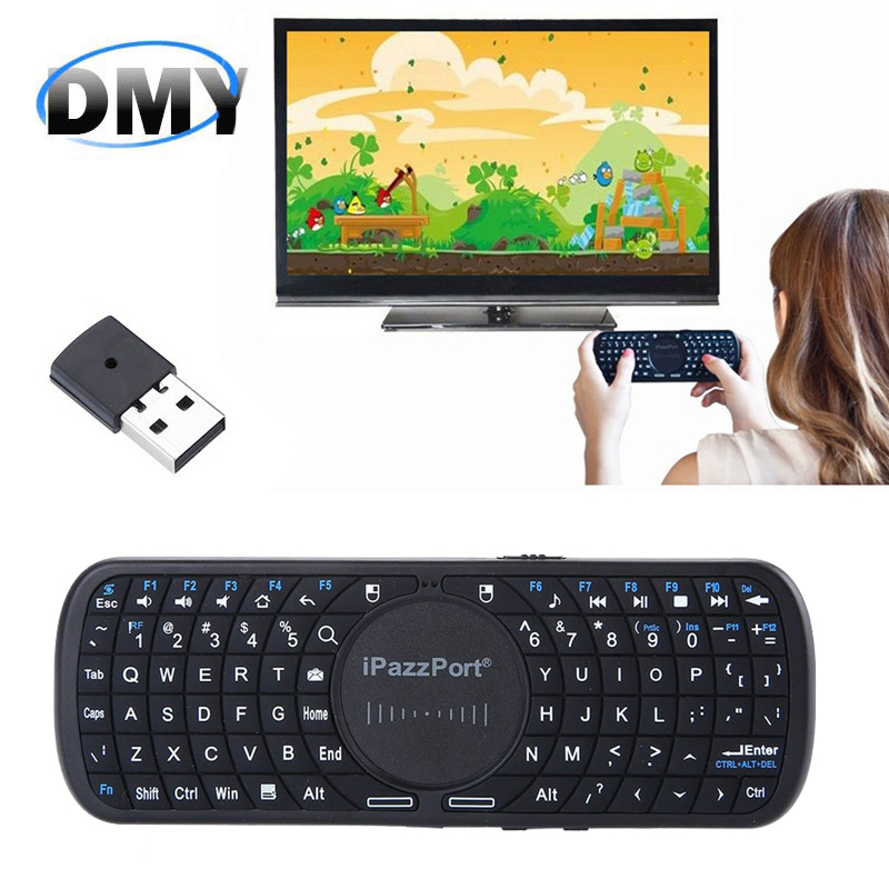 New 2.4G Mini Wireless iPazzPort Portable and handheld Mac OS QWERT Keyboard fly air mouse for PC Android Google Smart TV Box(China (Mainland))