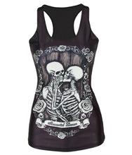 Womens Tees Blouses Tops Vest Gothic Tank Retro Skull Skeleton Lover individuality Night entertainment venue Mini vest(China (Mainland))