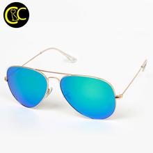 Classic Glass Lens Aviation Sunglasses Men Women Colorful Reflective Mirror Lens Eyewear Accessories Sun Glasses Logo CC0325
