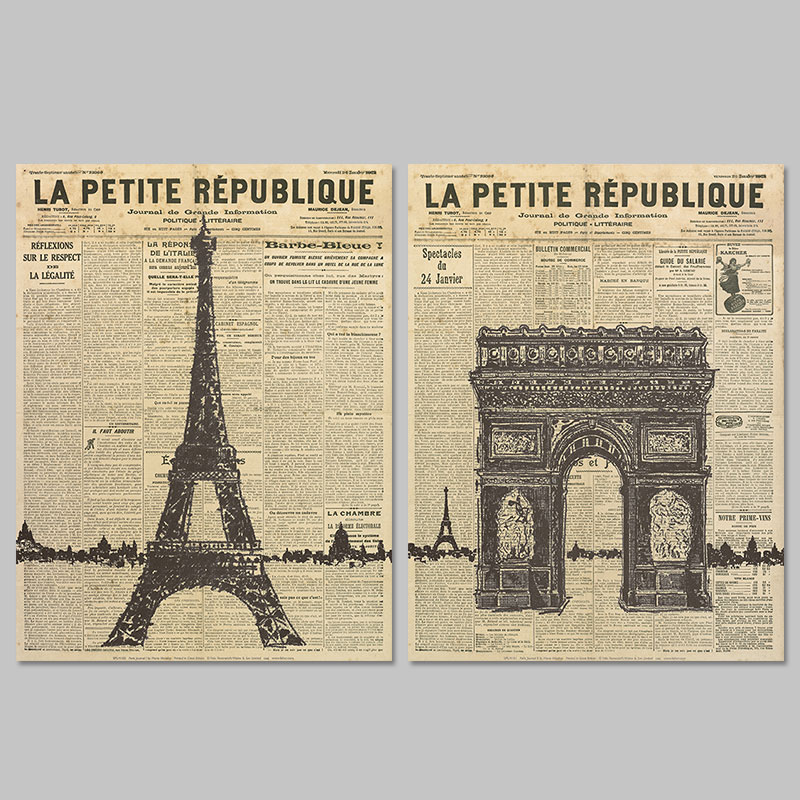Old Newspaper Paris Eiffel Tower decoration wall art pictures poster Triumphal arch Canvas Painting living room print unframed(China (Mainland))